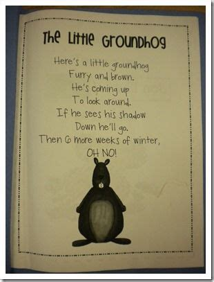 groundhog day poem groundhog day poem and activities for kindergarten on