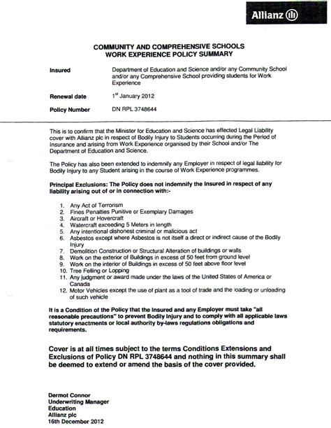 Letters In Insurance underwriter insurance cover letter