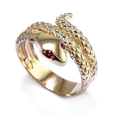 anzor jewelry 14k gold snake ruby eye serpent ring s