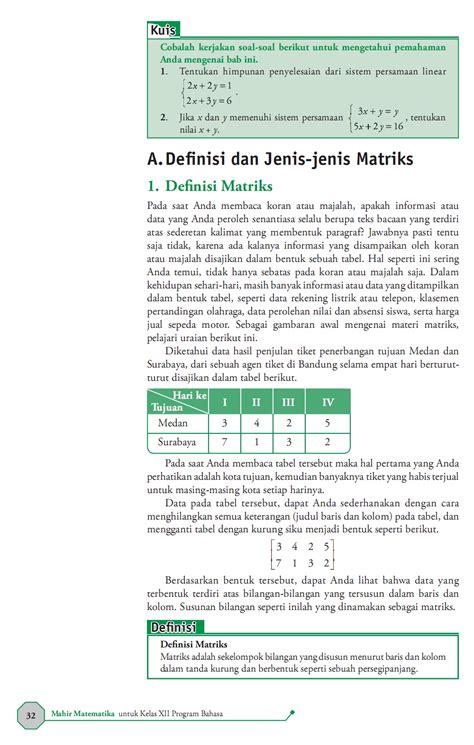 Matematika Sma 3 matematika di sma mahir matematika 3 sma ma bab 2 matriks