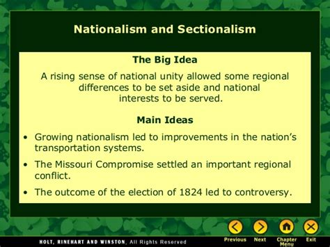 sectionalism and nationalism nationalism and sectionalism