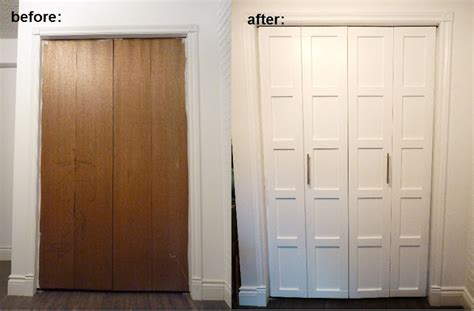 Adding Trim To Bifold Closet Doors - oh what a difference some trim makes