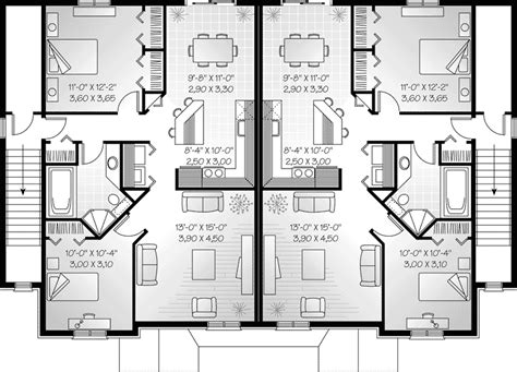 floor plan modern family house marland multi family fourplex plan 032d 0380 house plans and more