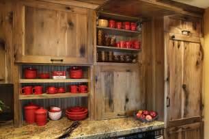 Rustic farmstead hickory reclaimed patina farmhouse kitchen
