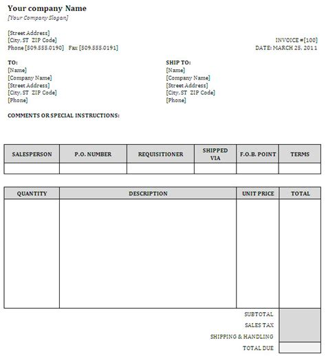 generic invoice template word generic invoice template excel 28 images free generic