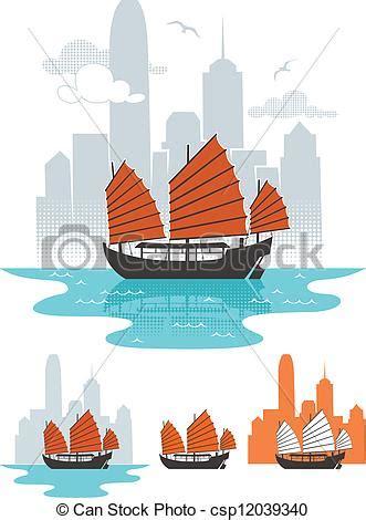 graphics design hong kong eps vector of hong kong illustration of junk boat in