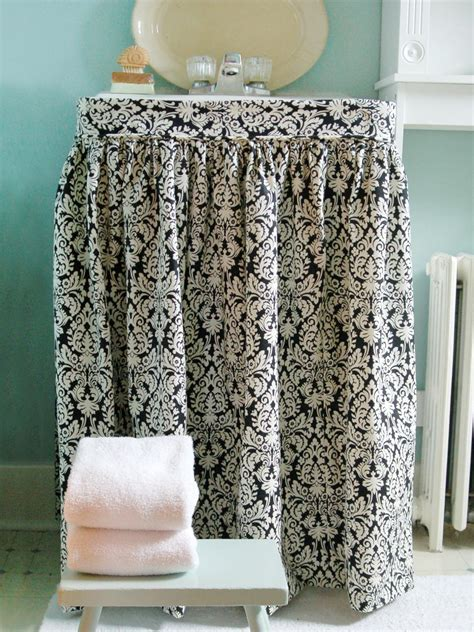 how to make a bathroom sink skirt how to make a sink skirt hgtv
