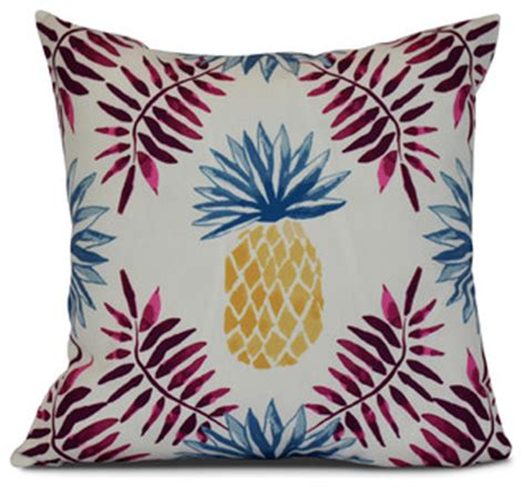 Patio Cushions Tropical Print 16x16 Quot Pineapple And Spike Geometric Print Outdoor
