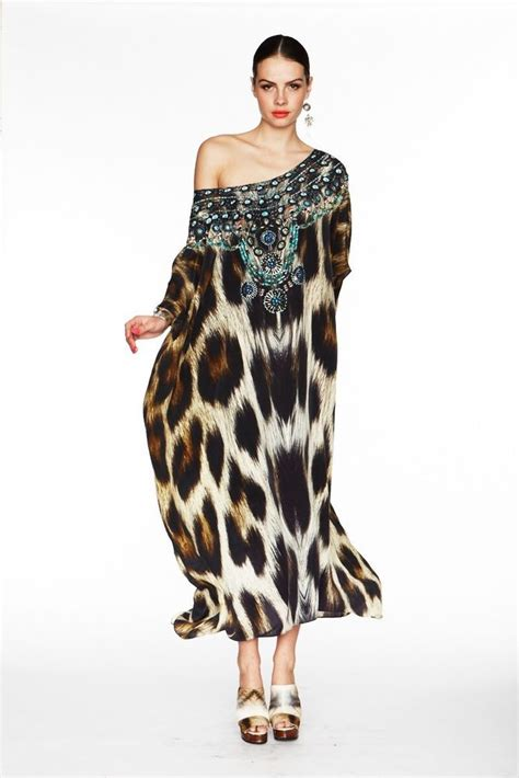 Gamis Abaya Maxi Leopard Bergo camilla franks silk swarovski panthera neck kaftan dress silk kaftan and dresses