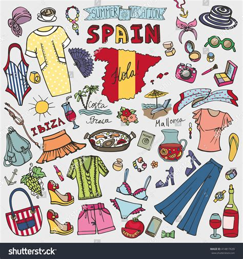 doodle espaã ol fashion illustration spain vector summer vacation