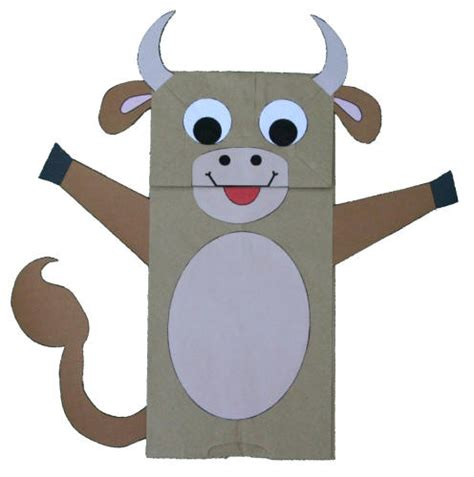 Cow Paper Craft - paper bag cow puppet