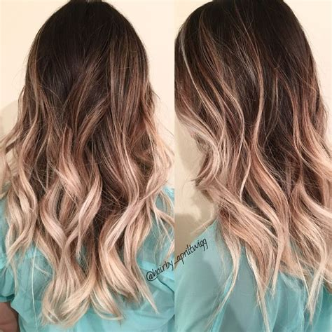 photos brown hair with blpnde ends ombre dark root into ashy blonde ends brunettes and