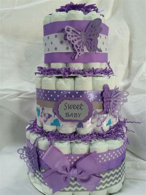 purple butterfly diaper cake baby shower diaper cakes babiesect    baby shower