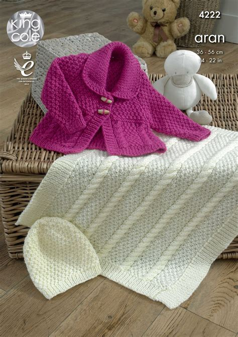 king cole aran knitting patterns baby knitting pattern king cole blanket jacket and hat