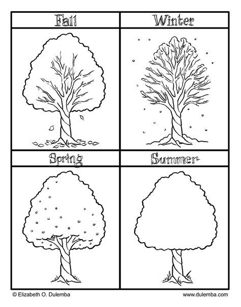 preschool coloring page of a tree the four seasons colouring pages preschool pinterest