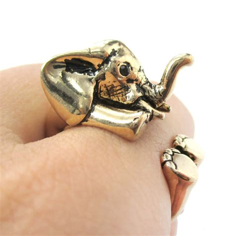 3d baby elephant animal wrap around ring in shiny gold