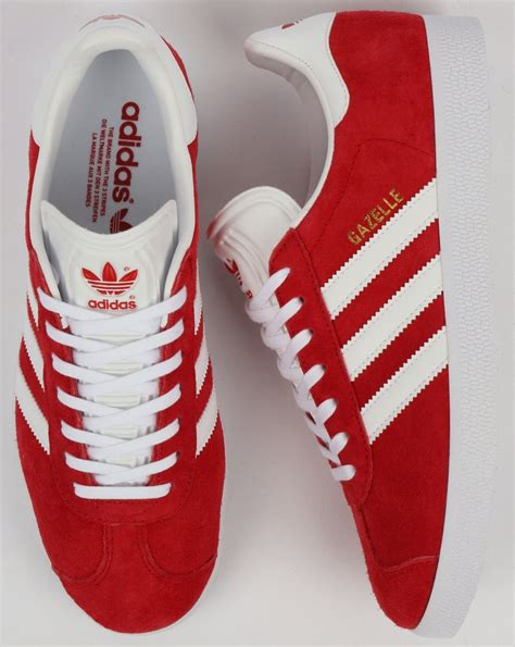 adidas red gazelle trainers white stripe suede