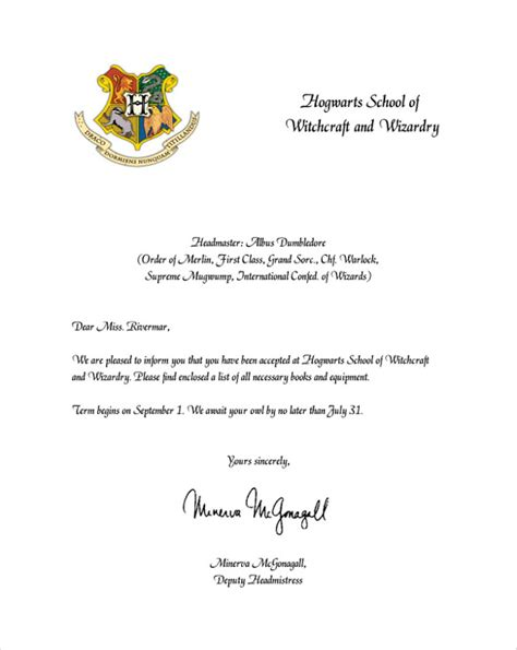 Personalized College Acceptance Letter Hogwarts Acceptance Letter 8 Documents In Pdf Word Psd