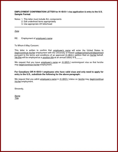 Employment Confirmation Letter Visa Sle Letter For Employment Confirmation Cover Letter Templates
