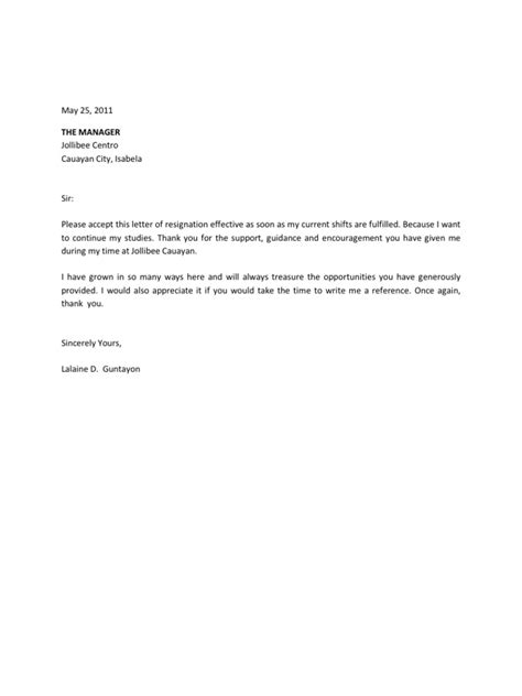 business letter exle to applying service crew resignation letter exle sle resignation
