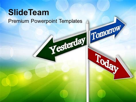 powerpoint theme vs template today tomorrow signpost future powerpoint templates ppt