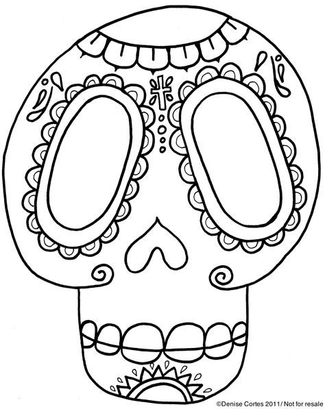 printable skull template free dead flowers coloring pages