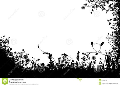 Garden Silhouette by Floral Fields Silhouette Stock Vector Image Of Plants