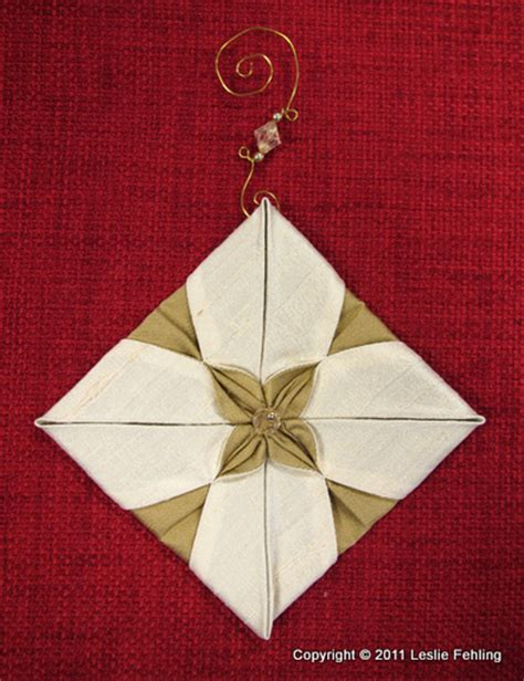 Origami Ornaments Patterns - folded fabric tree pattern
