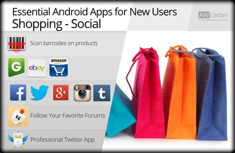 essential android apps essential android apps for new users shopping social aw center