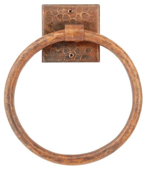 hammered copper kitchen cabinet hardware premier copper products 7 quot hand hammered copper towel ring
