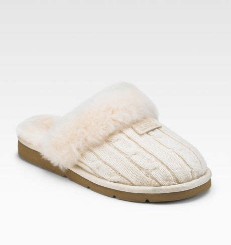 cosy knit ugg slippers ugg cozy knit wool scuffette slippers in beige lyst