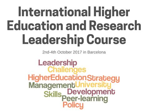 Mba In Higher Education And Research Management In Usa by International Higher Education And Research Leadership