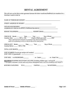 Redweek Rental Agreement Fill Online Printable Fillable Blank Pdffiller Fillable Rental Agreement Template