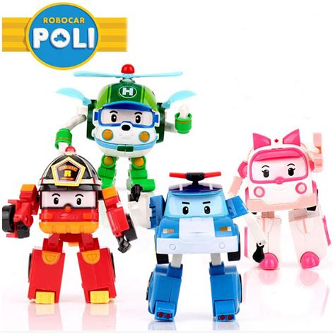 film kartun poli 4pcs set robocar poli toy korea robot car transformation