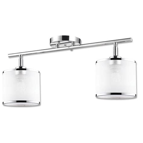 Chrome Light Fixture Beldi Concord Collection 2 Light Chrome Track Fixture With White Fabric Shade 23065 K2 The