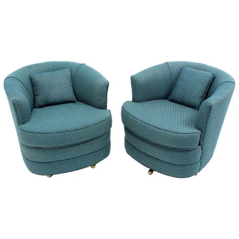Pair Of Swivel Barrel Lounge Chairs For Sale At 1stdibs Barrel Chair Swivel
