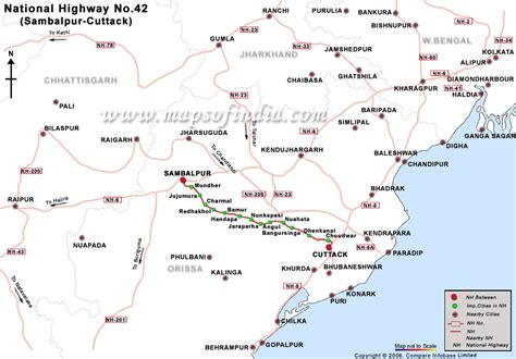 road map direction driving national highway 42 cuttack to sambalpur road map