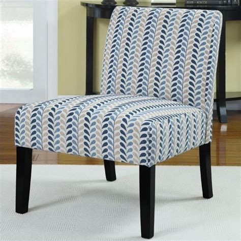 leaf pattern chair coaster upholstered accent slipper chair in blue leaf