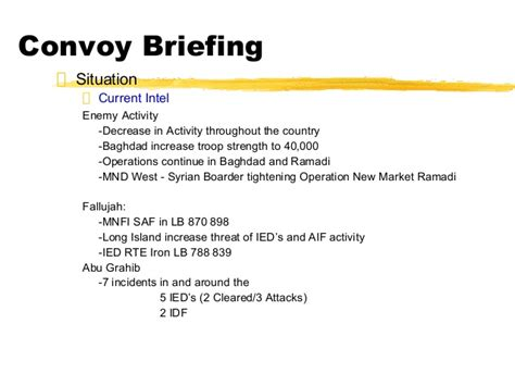 Army Convoy Briefformat Biap Convoy Briefing 051805