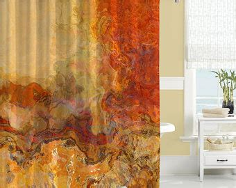orange brown shower curtain abstract shower curtain contemporary bathroom decor red and