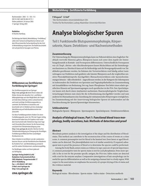 bloodstain pattern analysis education requirements analyse biologischer spuren funktionelle pdf download