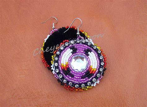 beaded american earrings american beaded earrings two feathers bling purple