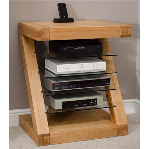 Z Solid Oak Designer Furniture Hi Fi Cabinet