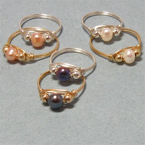 wire wrapped cultured pearl rings gemtwists jewelry on