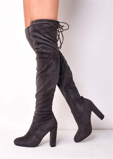 high heeled the knee boots thigh high tie back faux suede knee high heeled boots grey