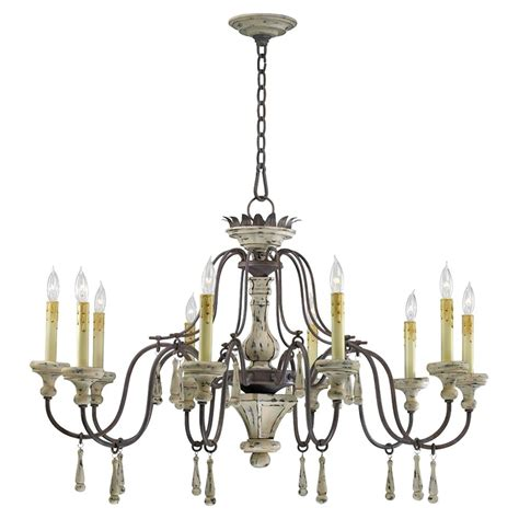 Country Chandeliers Provence Country White And Grey Wash 10 Light Chandelier Kathy Kuo Home