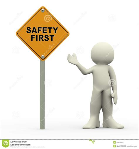 safety man clip art 3d man holding safety first roadsign stock illustration