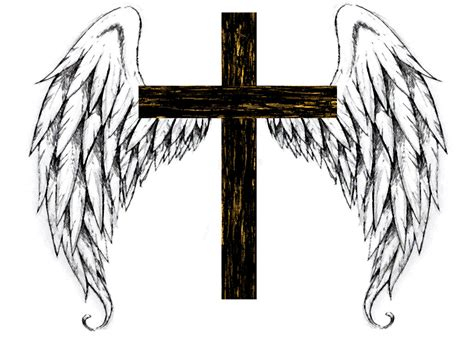 cross with angel wings light by jaruesink on deviantart