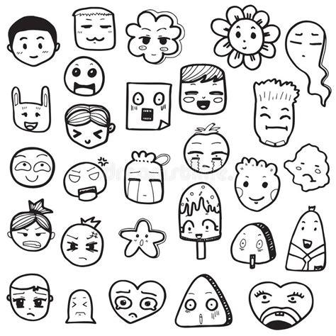 doodle 4 outline set of outline doodle emoticons vector