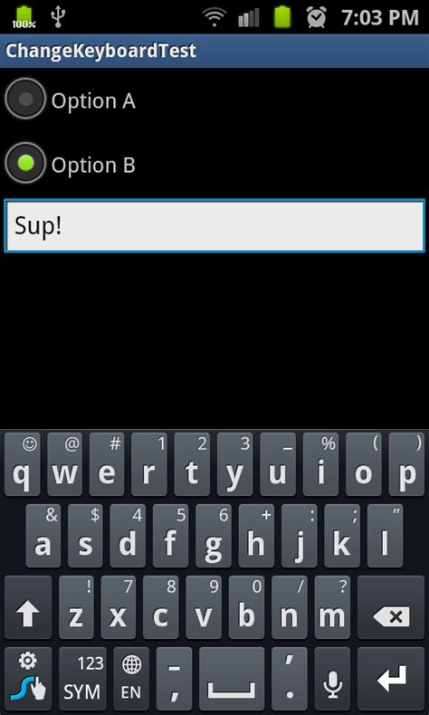 change keyboard layout javascript android change the keyboard layout after a button click